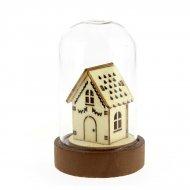 Petite Cloche Lumineuse Maison basse (9 cm) - Verre/Bois