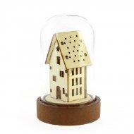 Petite Cloche Lumineuse Maison haute (9 cm) - Verre/Bois