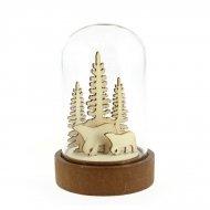 Petite Cloche Lumineuse Ours et Sapins (9 cm) - Bois/Verre