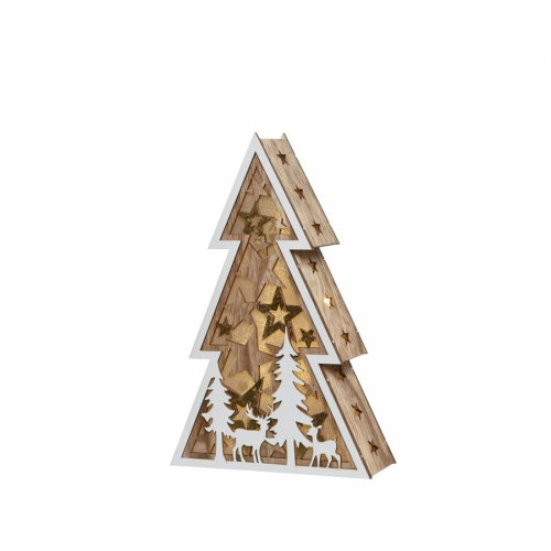 Sapin Lumineux Etoiles et Forêt en Bois (27 cm) - à Piles