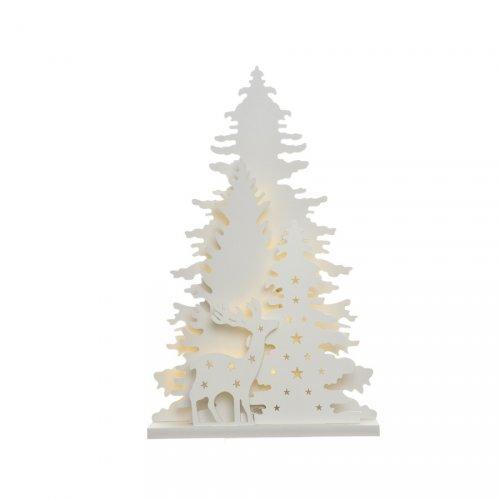 Décor Lumineux Renne et Sapins Blanc  en bois (25 cm) - à Piles