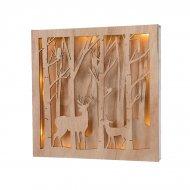 Tableau Lumineux Rennes et Forêt (25 cm) - Bois