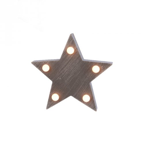 Petite Etoile Lumineuse 5 Led (10,5 cm) - Bois Gris
