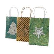 3 Sacs Cadeaux Noël Vert/Or (25 cm) - Papier