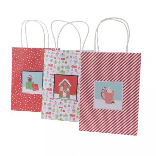3 Sacs Cadeaux Noël Rouge/Blanc (25 cm)