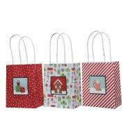 6 Petits Sacs Cadeaux Noël Rouge/Blanc (14 cm)