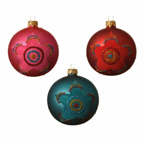 6 Boules Assorties Rose/Bleu/Rouge - Verre