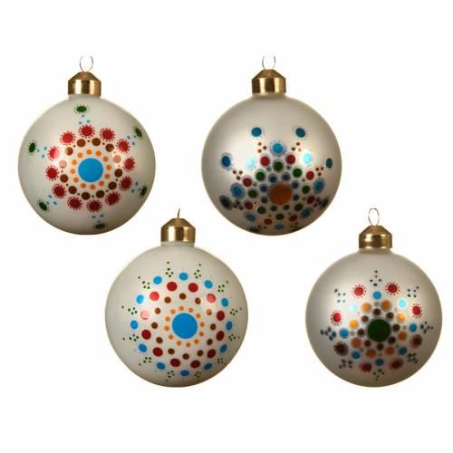 4 Boules de Noël - Fleurs