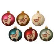 6 Boules de Noël Lama - Verre