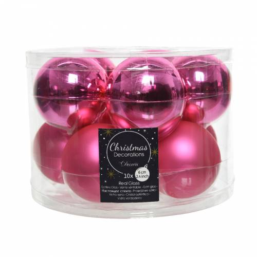 10 Boules Rose Flashy - Mat/Brillant