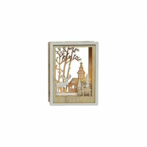 Tableau Lumineux Cerfs et Eglise (15 cm) - Bois