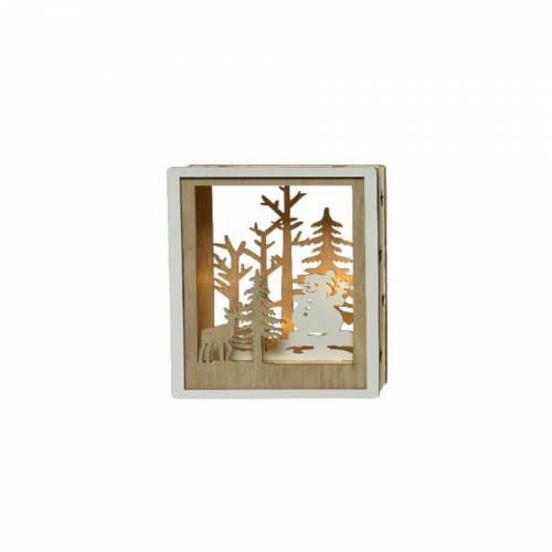 Tableau Lumineux Bonhomme de Neige (15 cm) - Bois