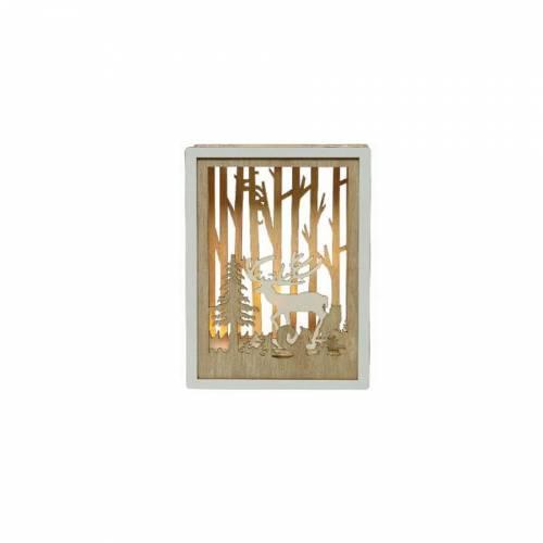 Tableau Lumineux Cerf et Forêt (15 cm) - Bois