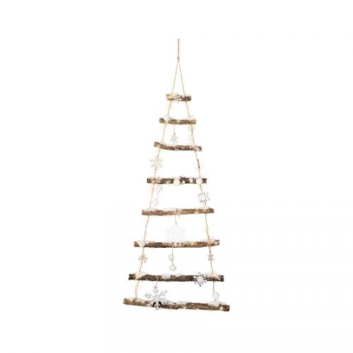 Sapin Mural Branches enneigées (100 cm) LED - Bois et Corde