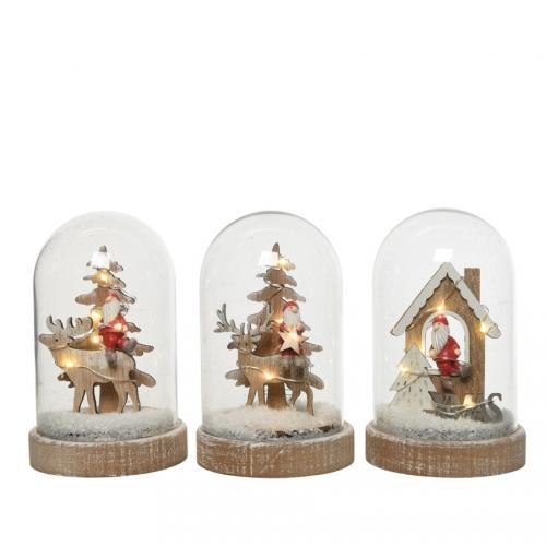 Scène Bois dans Cloche à LED Cerf + Père Noël