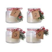 4 Bougies dans Pot en Verre avec Ruban
