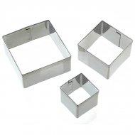 3 mini emporte-pièces carrés tailles assorties