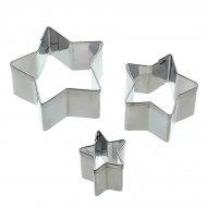 Lot de 3 mini emporte-pièce étoiles en métal