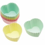 12 Moules � Cupcakes Silicone Coeurs Pastels