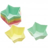12 Moules à Cupcakes Silicone Étoiles Pastels