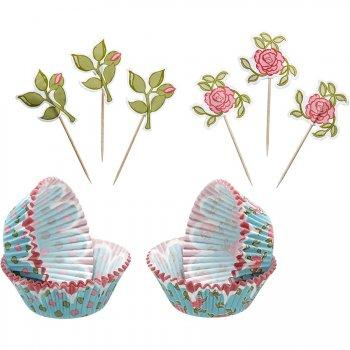 Kit 24 Caissettes et Déco à Cupcakes Garden Romance
