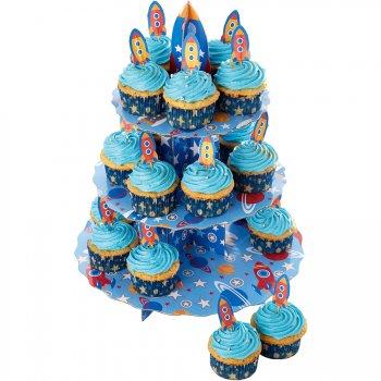 Set Présentoir et Décos Cupcakes Fusée