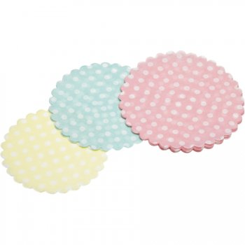 30 Mini Napperons Pastels à Pois (9, 10 et 11 cm) - Papier