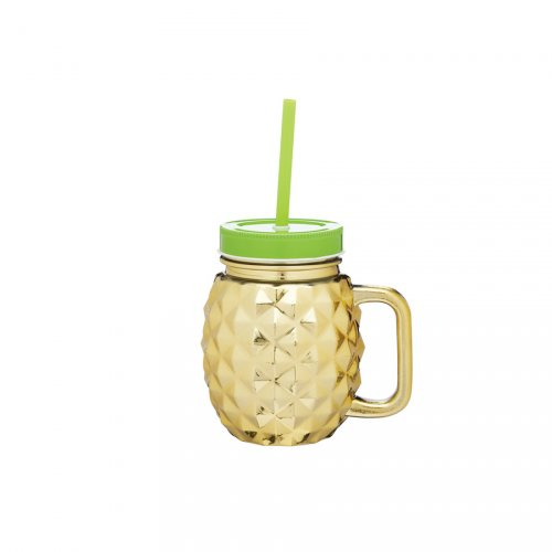 1 Verre Ananas Or (50 cl) + couvercle + paille