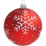 Boule Noël Rouge Flocon Blanc (8 cm) - Verre