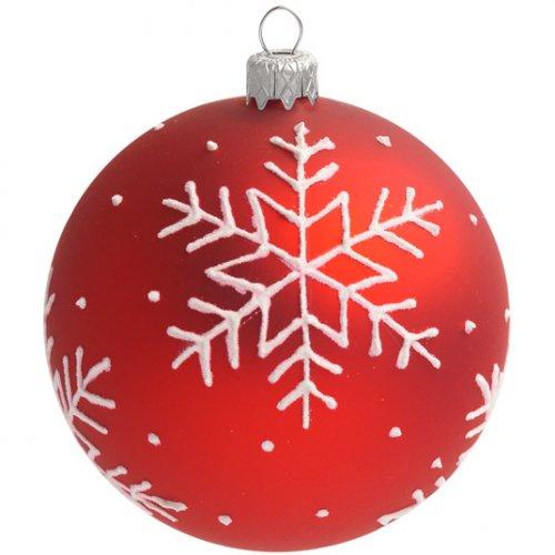Boule Noël Rouge Flocon Blanc (8 cm)   Verre pour l'anniversaire