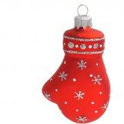 Boule Gants de Noël Rouge/Argent (10 cm) - Verre