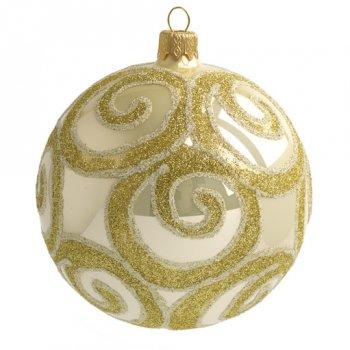 Boule Noël Beige Arabesques Or (10 cm) - Verre