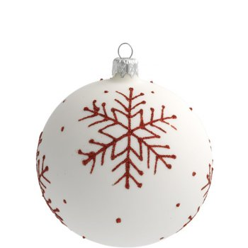 Boule Noël Blanc Flocon Rouge (10 cm) - Verre