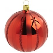 Boule Noël Rouge Tradition (10 cm) - Verre