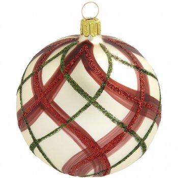 Boule Noël Beige Maillage Rouge/Vert (8 cm) - Verre