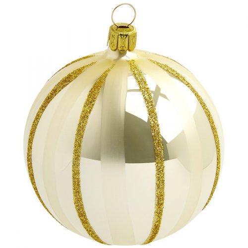 Boule Noël Beige/Or Tradition (10 cm) - Verre