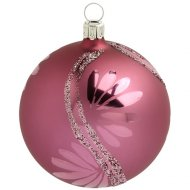 Boule Noël Rose Lotus et Paillettes  (8 cm) - Verre