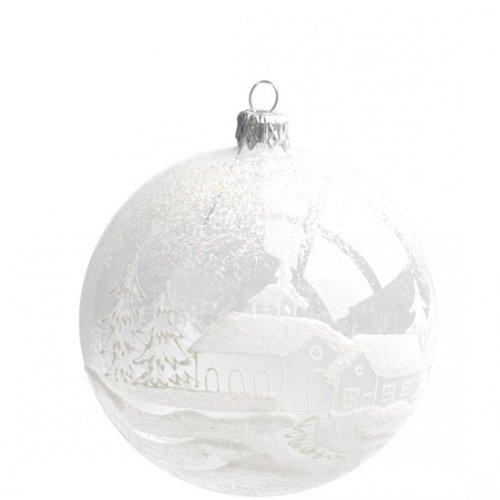 Boule Noël Transparente Village (10 cm) - Verre