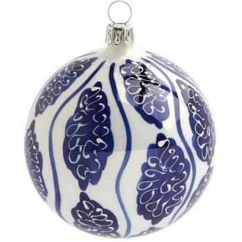 Boule Noël Blanc Faïence Bleue (8 cm) - Verre
