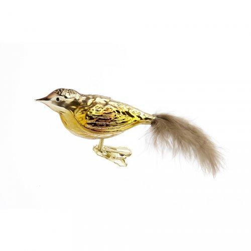 Oiseau Or à Plume clip (10 cm) - Verre