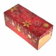 Boîte à Bûche Boules/Flocons (25 cm) - Carton