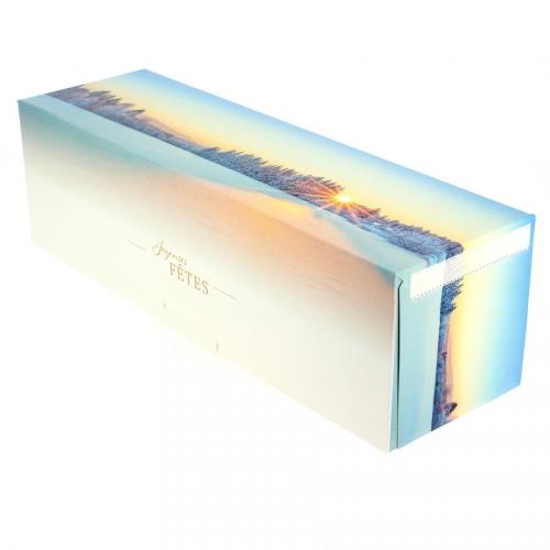 Boîte à Bûche Paysage Enneigé (35 cm) - Carton