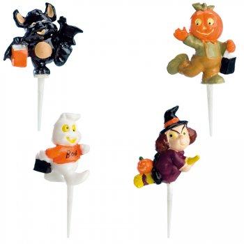 4 Figurines en plastique à piquer Halloween