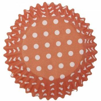 25 Caissettes à Cupcakes Orange à Pois blanc