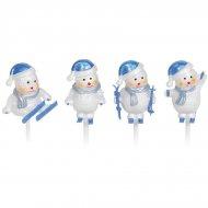 4 Bonhommes de Neige Bleu/Argent sur pics