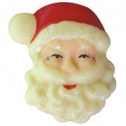 3 Têtes de Père Noël en chocolat Blanc