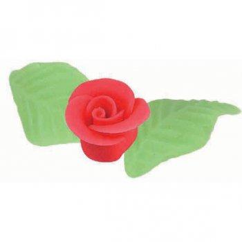 3 Roses et 6 feuilles en pâte d amande