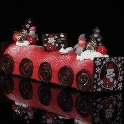 2 Bonhommes de neige Rouge et Gris en Pâte d'amande