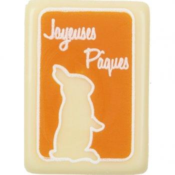 "6 Plaques ""Joyeuses Pâques"" chocolat blanc"
