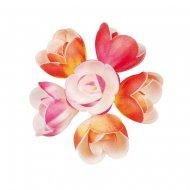 6 Grands Boutons de Roses Pastels en azyme